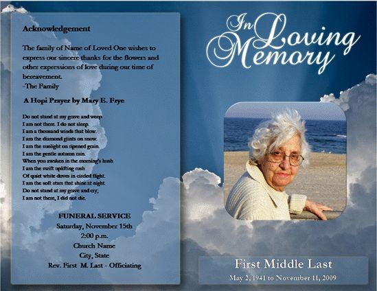 Beautiful Free Funeral Program ... Intended Free Printable Memorial Service Programs