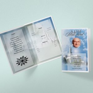 Cloud cover funeral program template mock