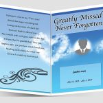 Front Sky Blue Funeral Program Template