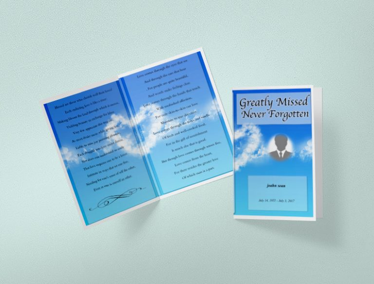 Main Sky Blue Funeral Program Template