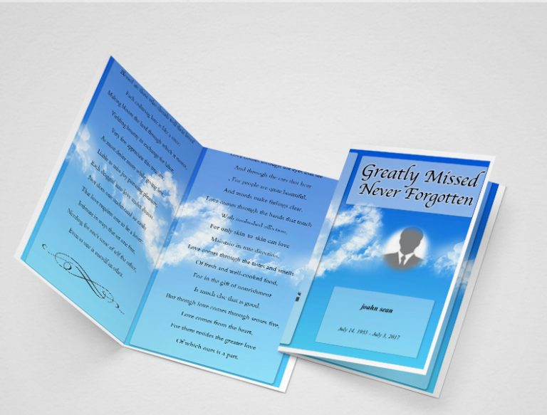 Sky Blue Funeral Program Template