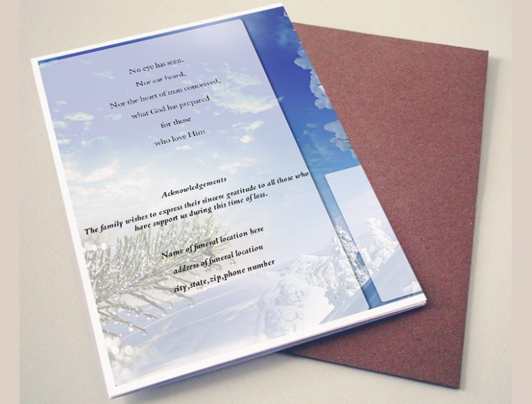 Back Memorandum Funeral Program Template