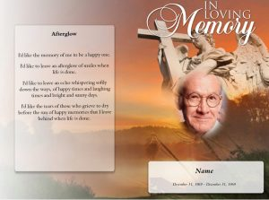 Front Spangle Funeral Program Template