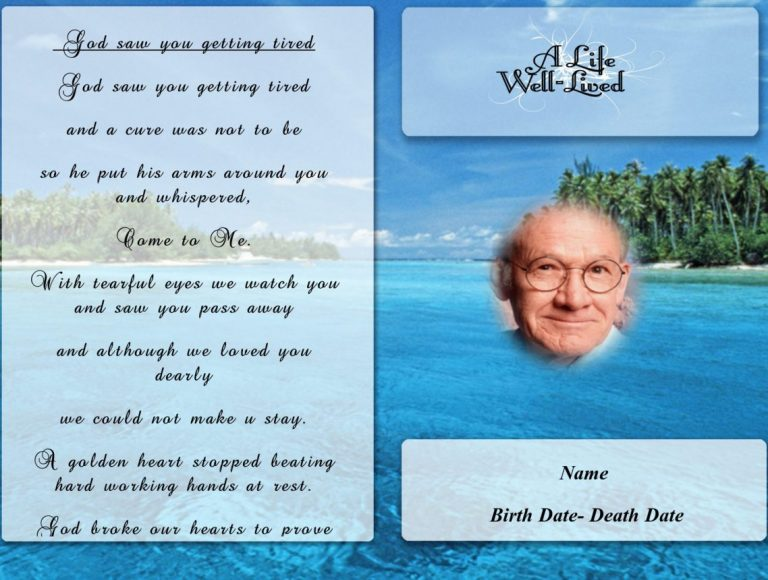 Front Blue Flower Funeral Program Template