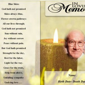 Front Yellow Candle Funeral Program Template  Funeral Pamphlet Templates