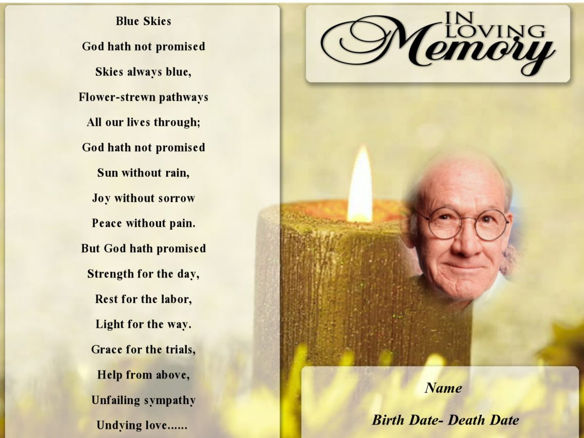 Yellow Candle Funeral Program Template Funeral Program Template - Funeral pamphlet template