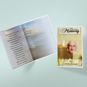 Yellow Candle Funeral Program Template