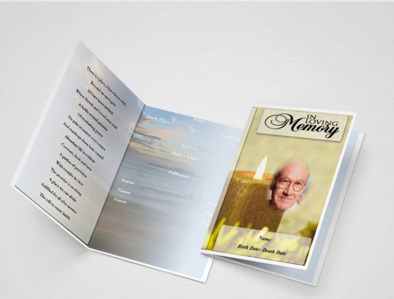 Main Yellow Candle Funeral Program Template