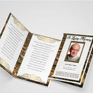 Golden Autumn Funeral Program Template