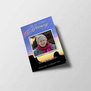 Sunset Funeral Program Template Booklet