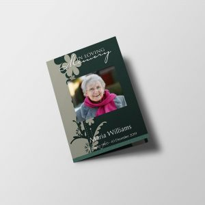 green floral abstract funeral program template