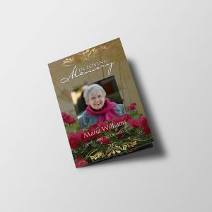 Roses Women Special Funeral Program Template front cover